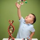 Niño jugando con moléculas