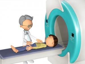 Niño haciendo una resonancia magnética