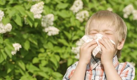 Niño con rinitis alérgica al polen
